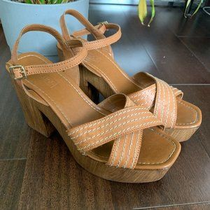 Topshop wooden clog sandals with leather straps